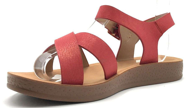 Forever Reform-8 Red Color Flat-Sandals Shoes for Women