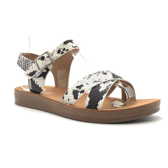Forever Reform-8 Snake Color Flat-Sandals Shoes for Women