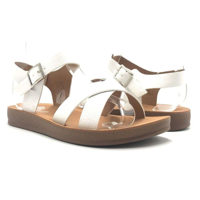 Forever Reform-8 White Color Flat-Sandals Shoes for Women