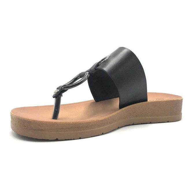 Forever Remain-34 Black Color Flat-Sandals Shoes for Women
