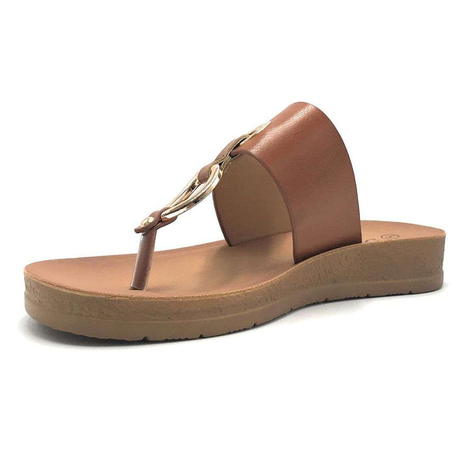 Forever Remain-34 Tan Color Flat-Sandals Shoes for Women