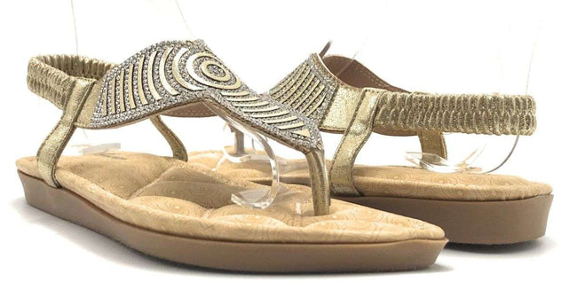 Forever Rosa-77 Gold Color Flat-Sandals Shoes for Women