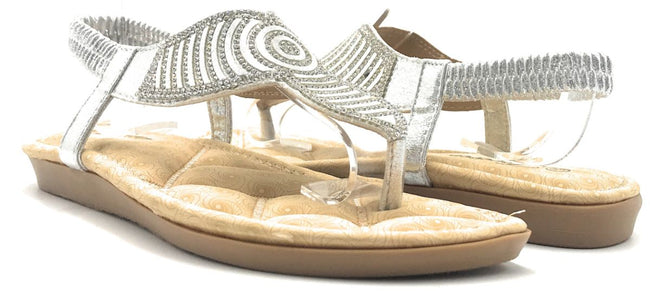 Forever Rosa-77 Silver Color Flat-Sandals Shoes for Women