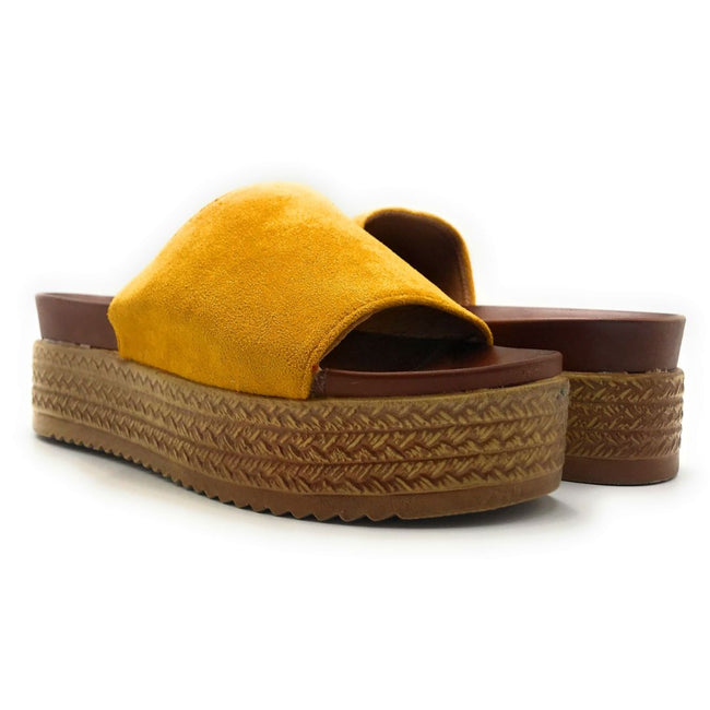 Forever Similar-07 Mustard Color Wedge Both Shoes together, Women Shoes