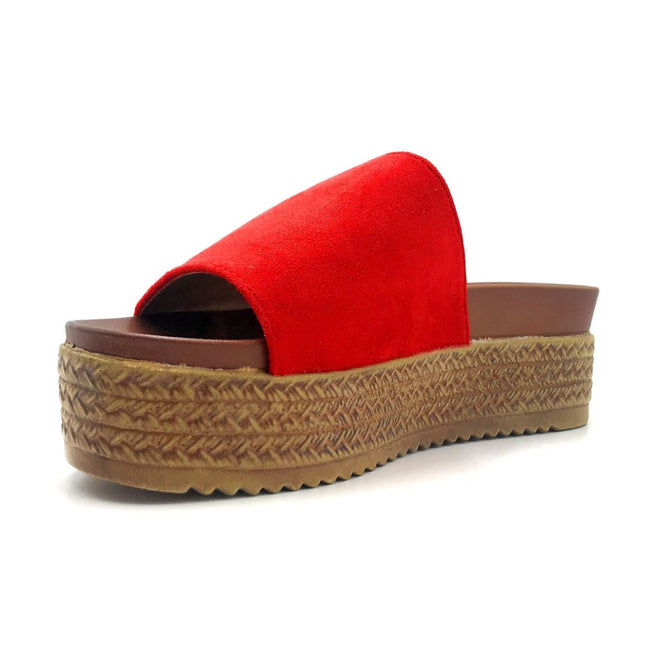 Forever Similar-07 Red Color Wedge Left Side view, Women Shoes
