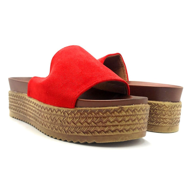 Forever Similar-07 Red Color Wedge Both Shoes together, Women Shoes