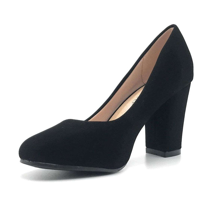 Forever Songful-4 Black Nub Color Pumps Shoes for Women