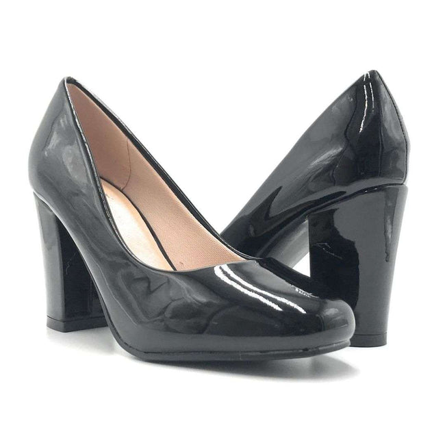 Forever Songful-5 Black Pat Color Pumps Shoes for Women