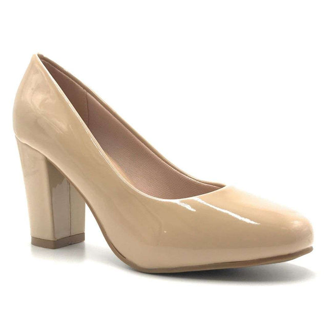 Forever Songful-5 Taupe Pat Color Pumps Shoes for Women