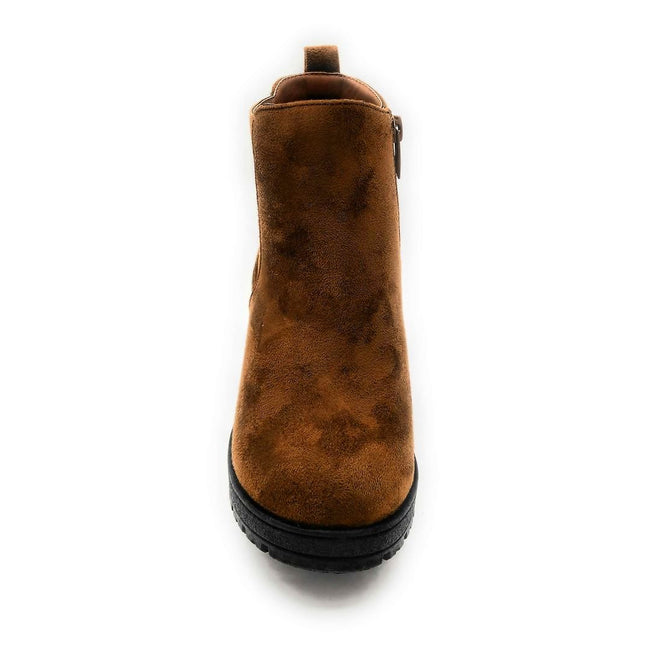 Forever Status-49 Brown Color Boots Front View, Women Shoes