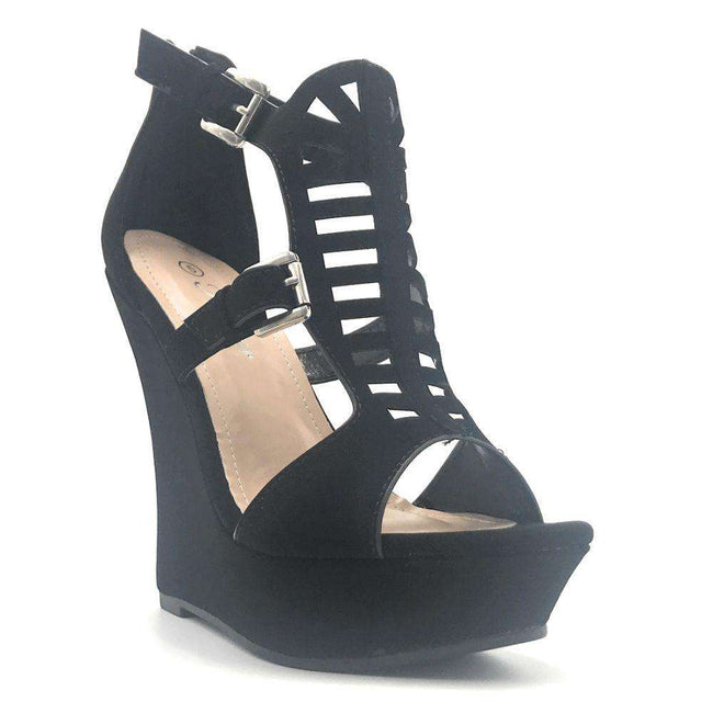 Forever Stephy-26 Black Color Wedge Shoes for Women