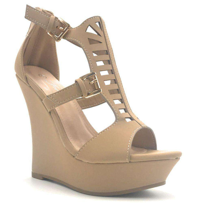 Forever Stephy-26 Taupe Color Wedge Shoes for Women