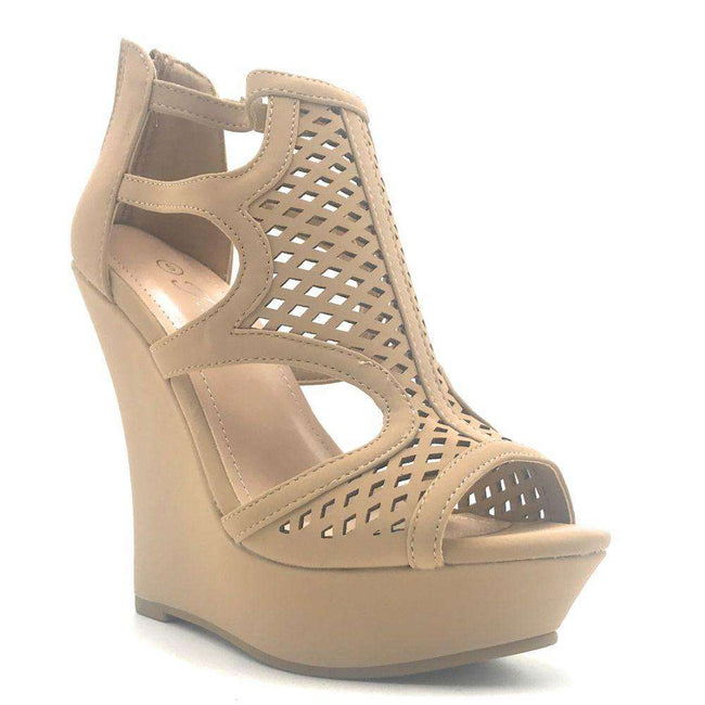 Forever Stephy-27 Taupe Color Wedge Shoes for Women