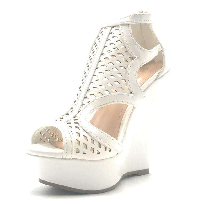Forever Stephy-27 White Color Wedge Shoes for Women