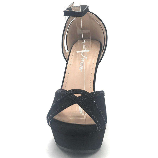 Forever Stephy-36 Black Color Wedge Shoes for Women