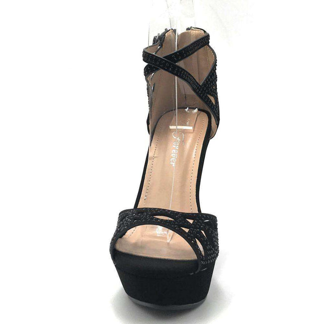 Forever Stephy-37 Black Color Wedge Shoes for Women