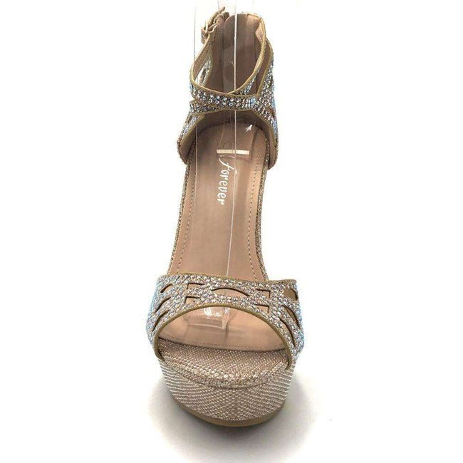 Forever Stephy-37 Champagne Color Wedge Shoes for Women