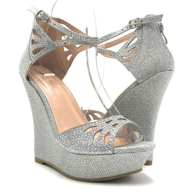 Forever Stephy-37 Silver Color Wedge Shoes for Women