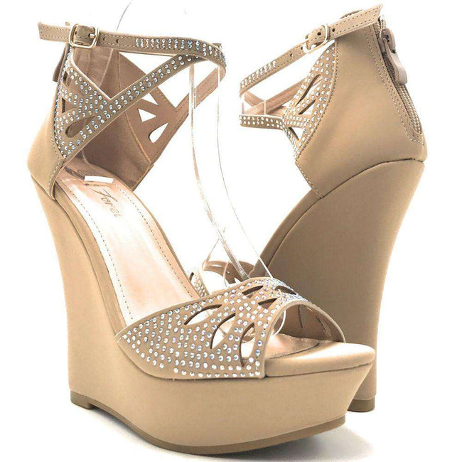 Forever Stephy-37 Taupe Color Wedge Shoes for Women