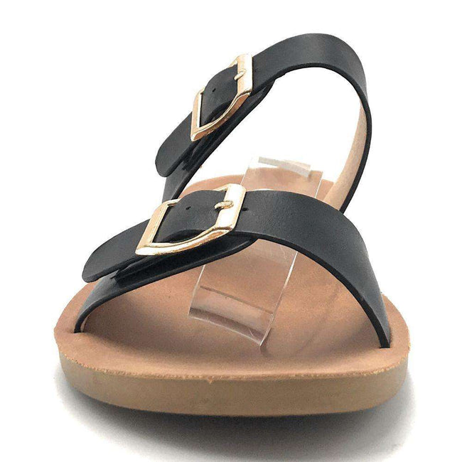 Forever Theresa-7 Black Color Flat-Sandals Shoes for Women