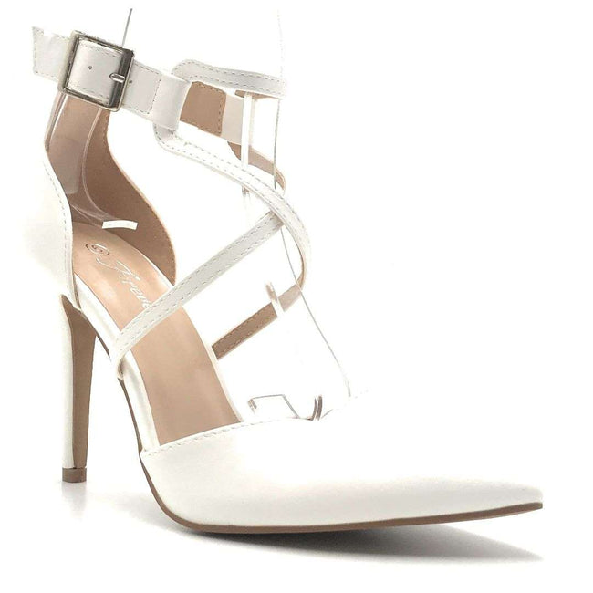 Forever Young-08 White Pu Color Heels Shoes for Women