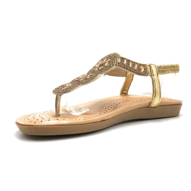 Forever Yulia-19 Gold Color Flat-Sandals Shoes for Women