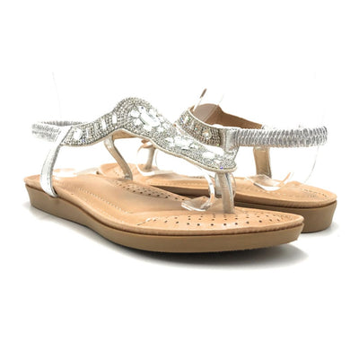 Forever Yulia-19 Silver Color Flat-Sandals Shoes for Women