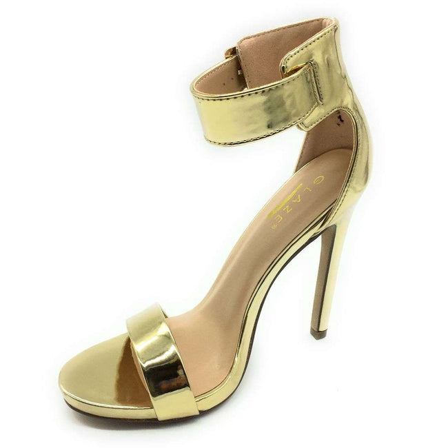 Glaze Momo-1 Gold Color Heels Shoes for Women
