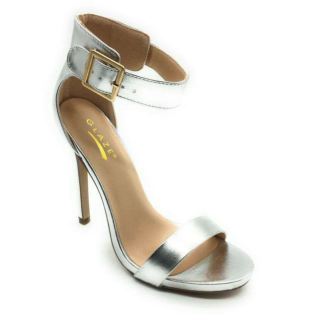 Glaze Momo-1 Silver Color Heels Shoes for Women