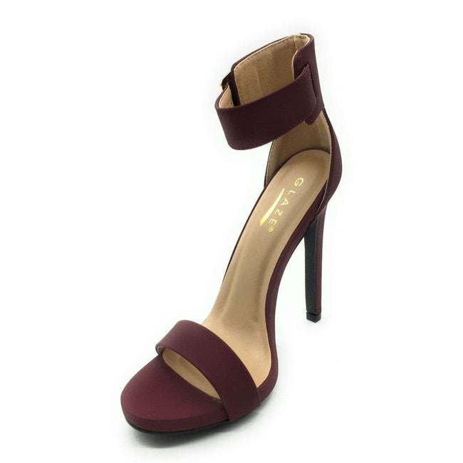 Glaze Momo-1 Wine Color Heels Shoes for Women