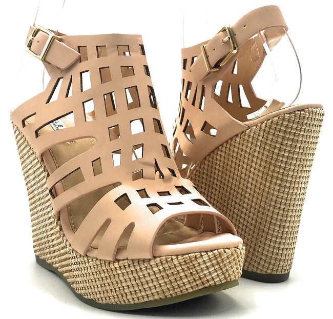 Kayleen Christi-2 Nude Color Wedge Shoes for Women