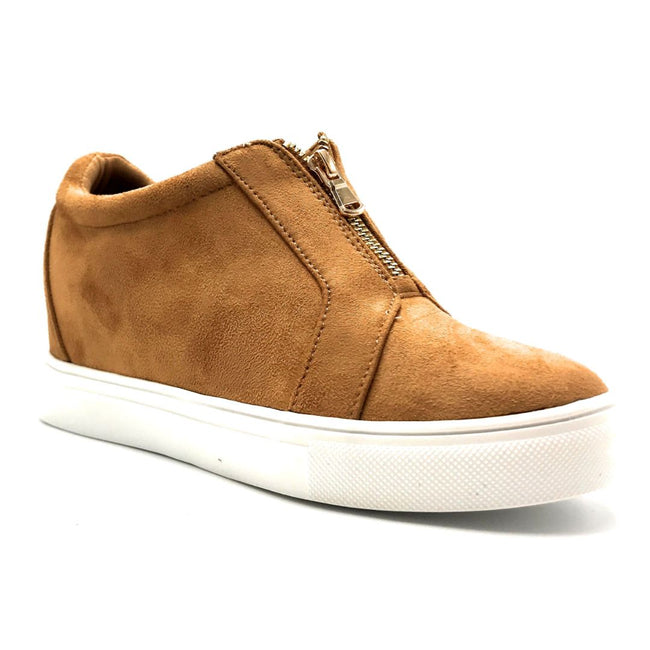 La Sheelah Hidden-01 Tan Suede Color Fashion Sneaker Right Side View, Women Shoes