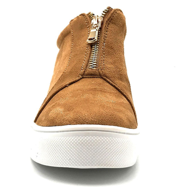 La Sheelah Hidden-01 Tan Suede Color Fashion Sneaker Front View, Women Shoes