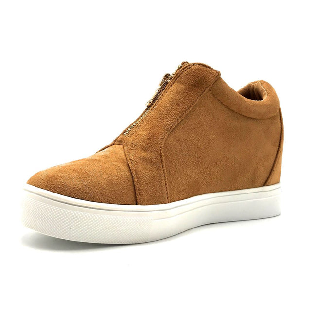 La Sheelah Hidden-01 Tan Suede Color Fashion Sneaker Left Side view, Women Shoes