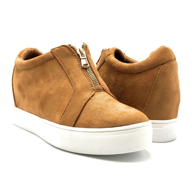 La Sheelah Hidden-01 Tan Suede Color Fashion Sneaker Both Shoes together, Women Shoes