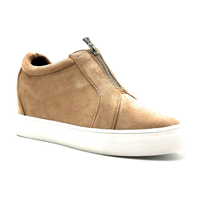 La Sheelah Hidden-01 Taupe Suede Color Fashion Sneaker Right Side View, Women Shoes