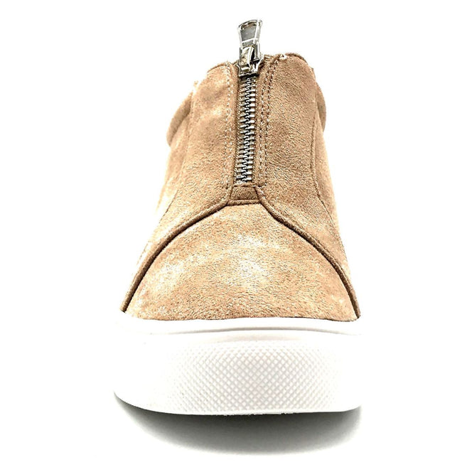 La Sheelah Hidden-01 Taupe Suede Color Fashion Sneaker Front View, Women Shoes