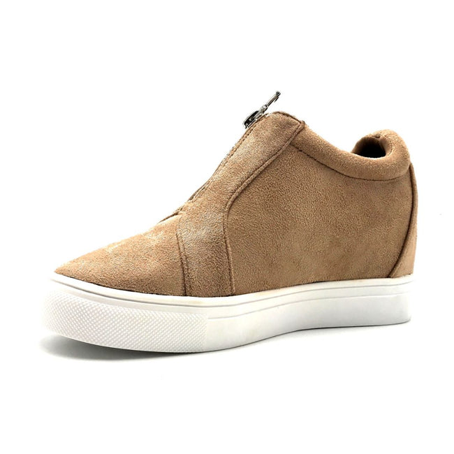 La Sheelah Hidden-01 Taupe Suede Color Fashion Sneaker Left Side view, Women Shoes