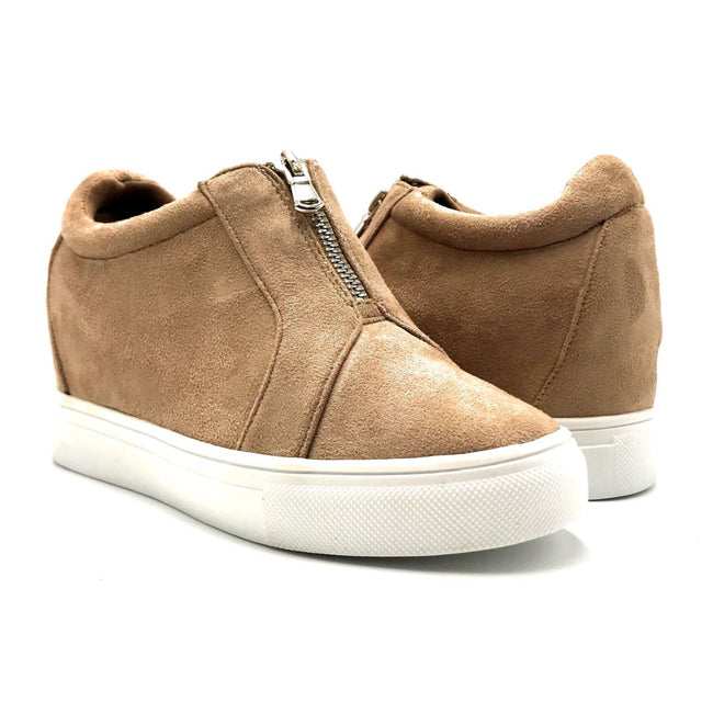 La Sheelah Hidden-01 Taupe Suede Color Fashion Sneaker Both Shoes together, Women Shoes