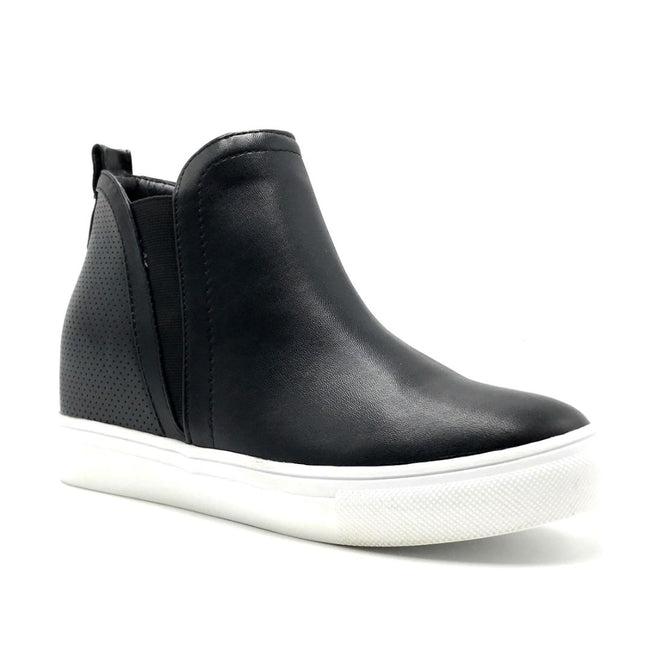 La Sheelah Hidden-03 Black PU Color Fashion Sneaker Right Side View, Women Shoes
