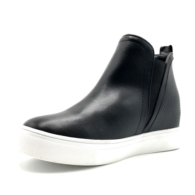 La Sheelah Hidden-03 Black PU Color Fashion Sneaker Left Side view, Women Shoes
