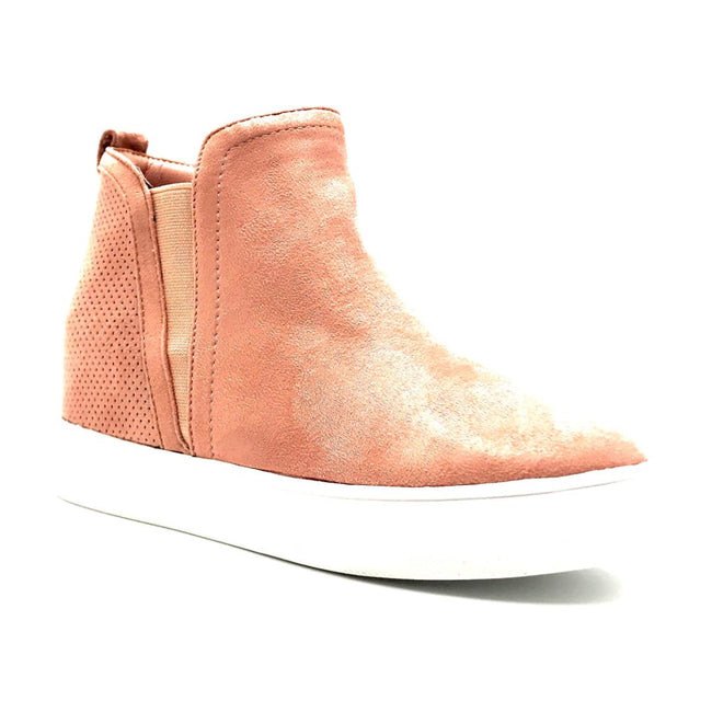 La Sheelah Hidden-03 Blush Suede Color Fashion Sneaker Right Side View, Women Shoes