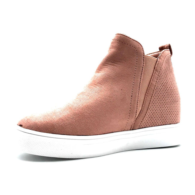 La Sheelah Hidden-03 Blush Suede Color Fashion Sneaker Left Side view, Women Shoes