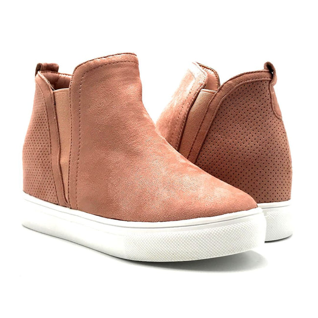 La Sheelah Hidden-03 Blush Suede Color Fashion Sneaker Both Shoes together, Women Shoes