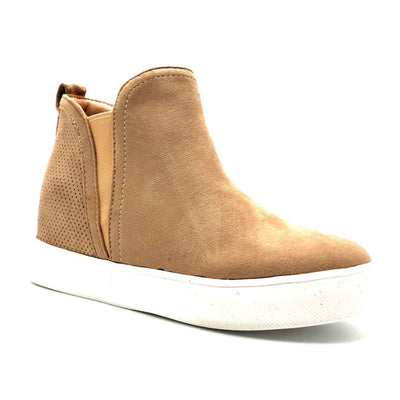 La Sheelah Hidden-03 Taupe Suede Color Fashion Sneaker Right Side View, Women Shoes