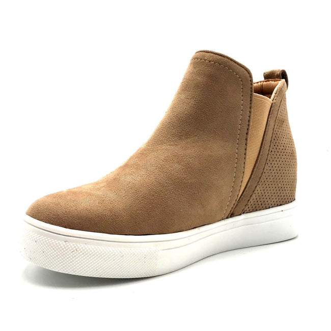 La Sheelah Hidden-03 Taupe Suede Color Fashion Sneaker Left Side view, Women Shoes