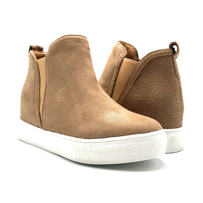 La Sheelah Hidden-03 Taupe Suede Color Fashion Sneaker Both Shoes together, Women Shoes
