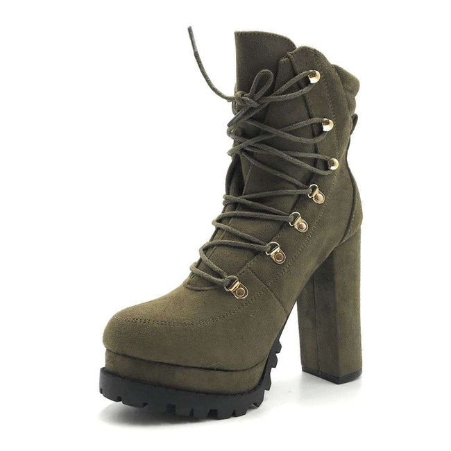 Legend Vivian-06 Olive Color Boots Shoes for Women