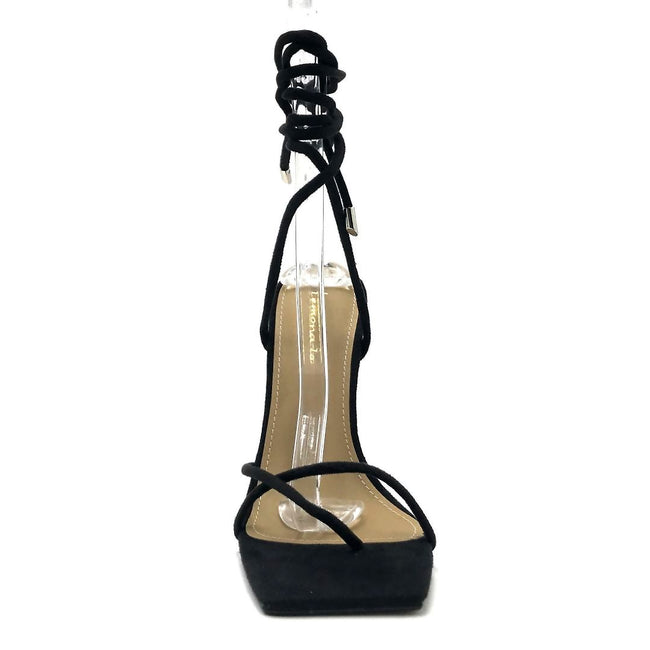 Lemonade Emily Black Color Heels Front View, Women Shoes