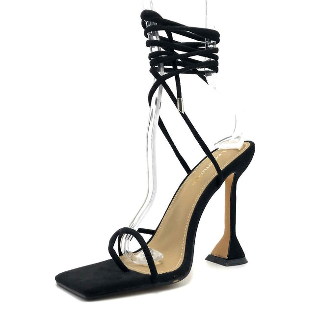 Lemonade Emily Black Color Heels Left Side view, Women Shoes